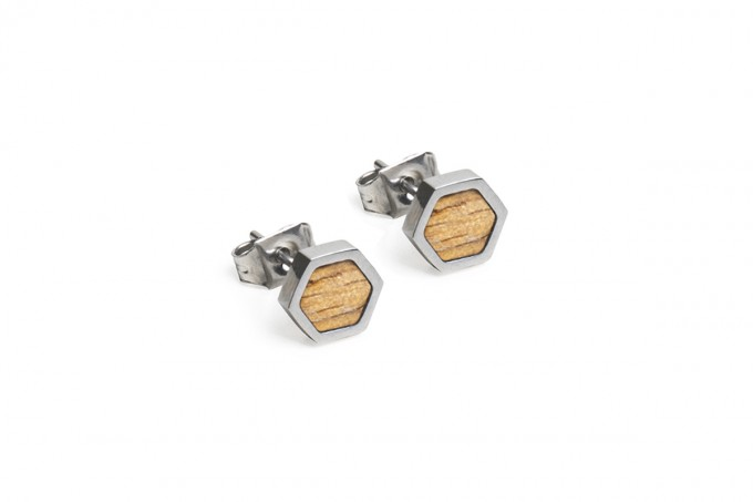 BeWooden Ohrringe, Ohrstecker mit Holzdetail - Lini Earrings Hexagon