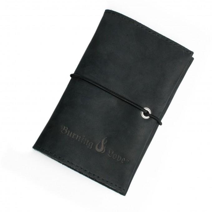 Leder Tabaktasche - Love Leather Smoking Pouch - (schwarz) - Burning Love