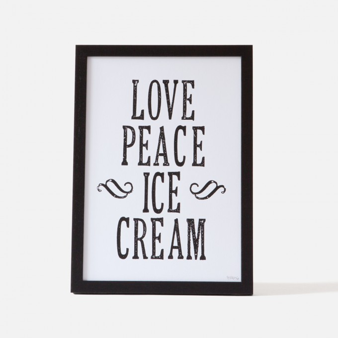 Bon Matin Siebdruck Love Peace Ice Cream Blk/Wht
