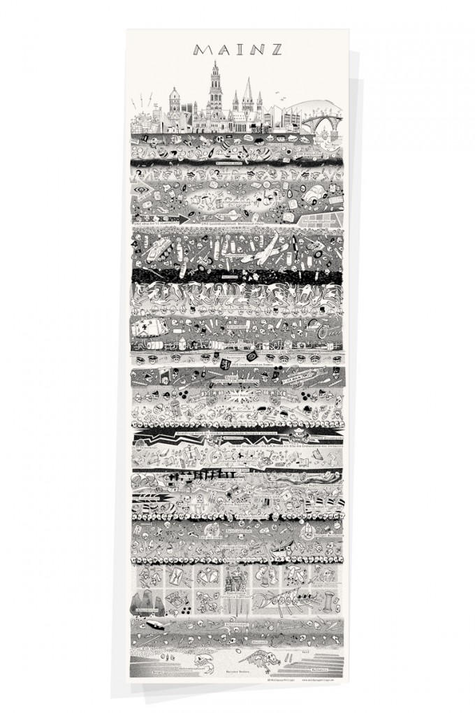 Wolfgang Philippi MAINZ PLAKAT 30x88 cm