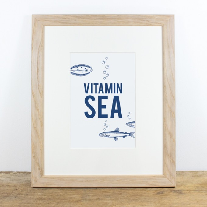 Bow & Hummingbird Bild mit Echtholzrahmen - Vitamin Sea