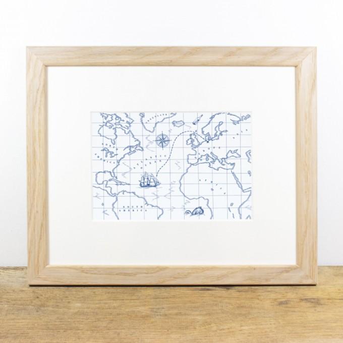 Bow & Hummingbird Bild mit Echtholzrahmen - Schatzkarte