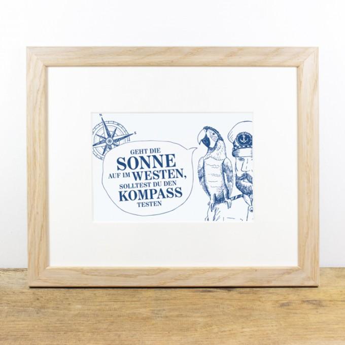 Bow & Hummingbird Bild mit Echtholzrahmen - Käpt´ns Weisheit II