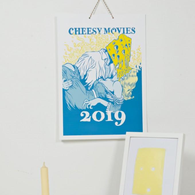 """Witziger Käse-Kalender CHEESY MOVIES 2019, 13 Parodien zu Hollywood-Filmen wie """"Goudafellas und """"Hari Cotta"""", 29,7 x 42, Limitierte Riso-Drucke"""