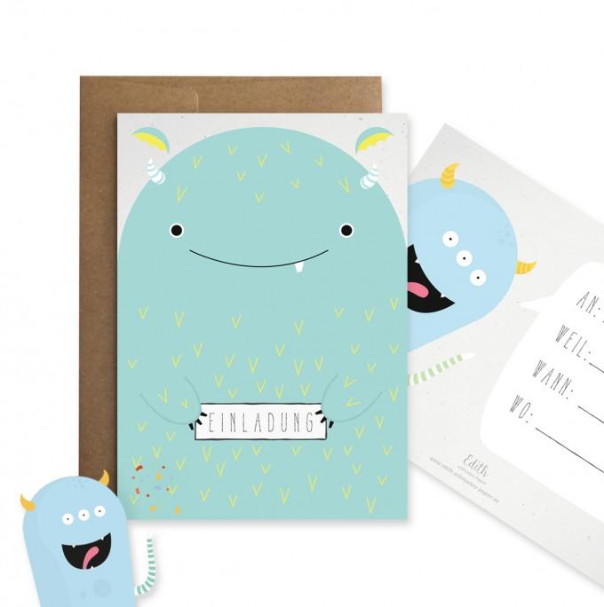 """Edith schmuckes Papier """"Monsterparty Einladungsset"""" mit 6 Postkarten und 6 Briefumschlägen"""