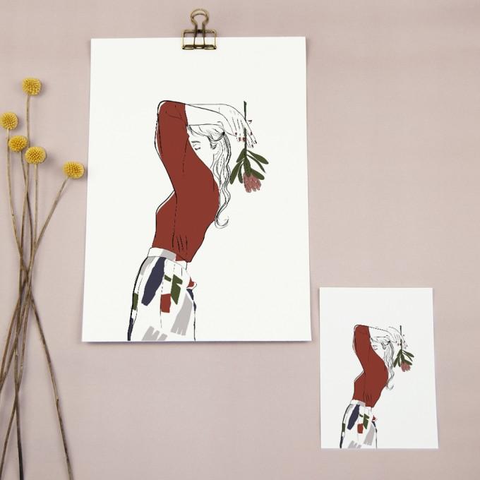 "nathys_illustration - Digitalpring+Postkarte ""my protea"""