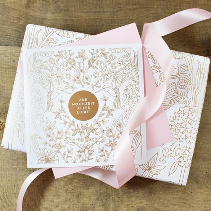 Bow & Hummingbird Geschenkverpackungs-Set zur Hochzeit