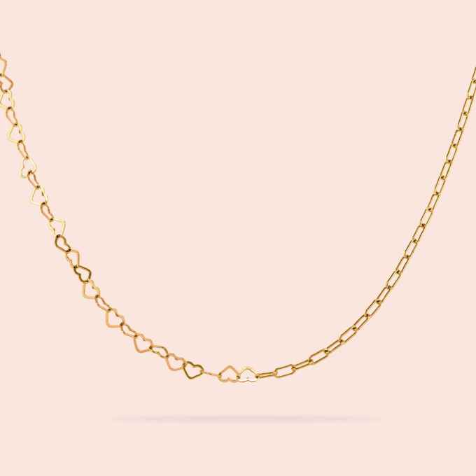related by objects - just hearts necklace - 925 Sterlingsilber 18k goldplattiert