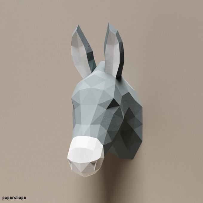PaperShape Esel - Vegane Tiertrophäe aus Papier im DIY Kit