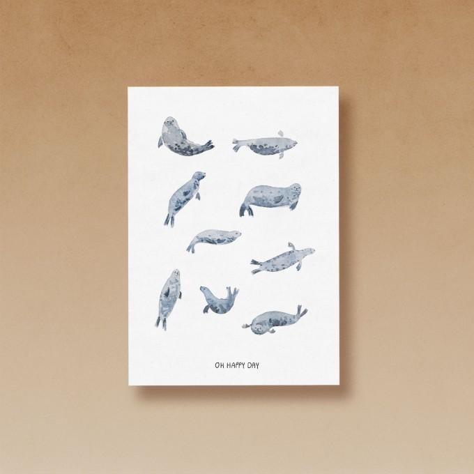 tucán y limón – Robben / Oh Happy Day / Aquarell Postkarte A6 (5er-Set)