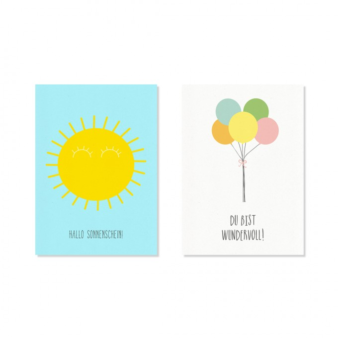 "Edith schmuckes Papier ""Happy - Postkarte Set"" mit 2 Postkarten"