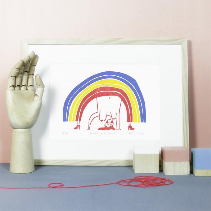 Knallbraun - You're a Rainbow | Linolschnitt