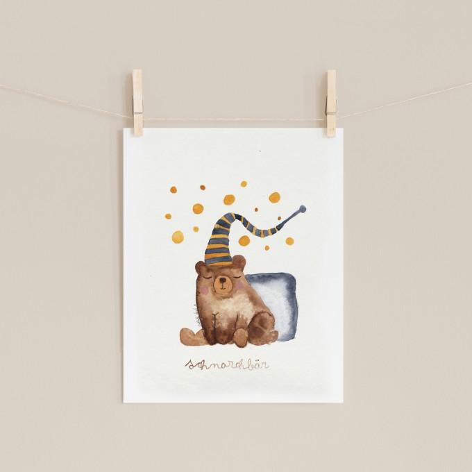 Hasenkinder - Aquarellbild Schnarchbär 18x24cm