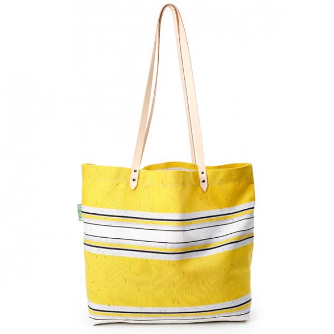 alva Cargo Recyclingtasche aus wiederverwendetem Markisentuch/Leder (gelb)