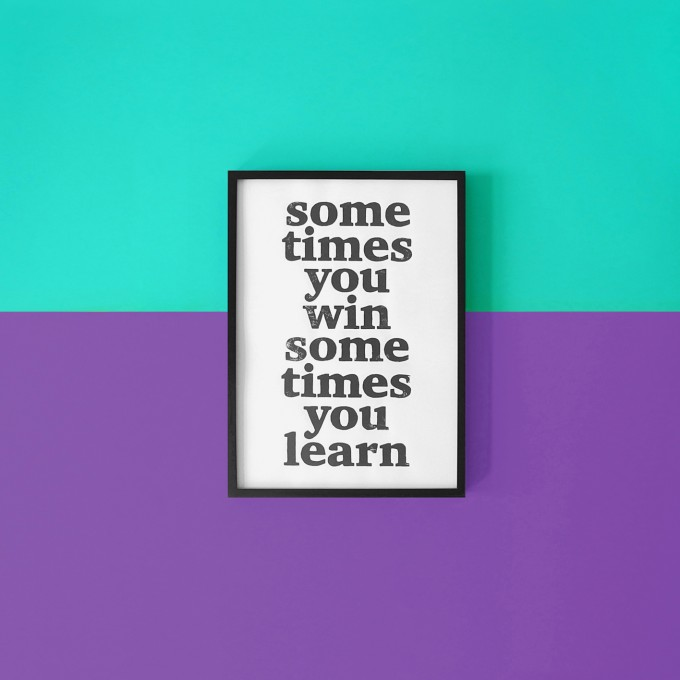 The True Type Linoldruck »sometimes you win, sometimes you learn«, gerahmt (DIN A4), Poster, Print, Typografie, Design