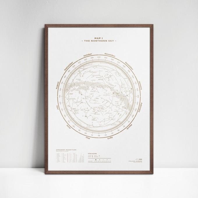 stellavie Map I – The Northern Sky (Gold/White), Siebdruck