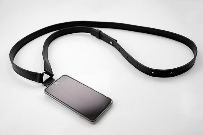 Lapàporter – iPhone Case Zum Umhängen Mit maskulinem Lederriemen, schwarz