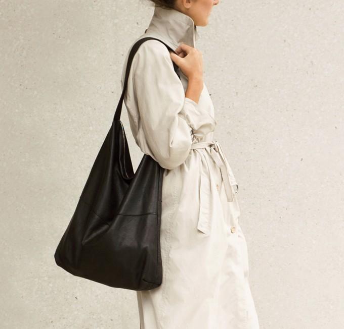 STUDIO AWEARE Shopper / Schultertasche JULI, schwarz, Leder