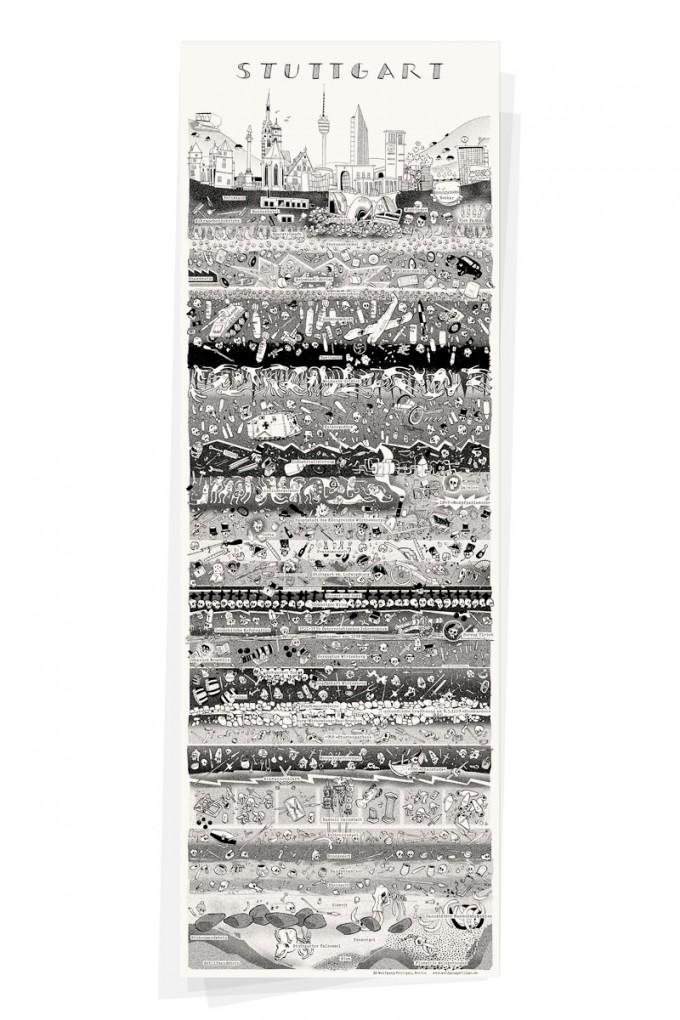 Wolfgang Philippi STUTTGART PLAKAT 30x88 cm