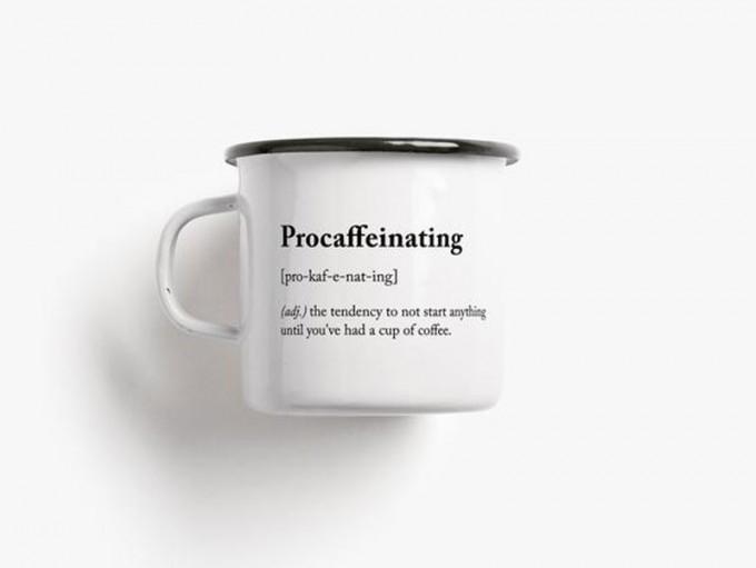 typealive / Emaillebecher Tasse / Procaffeinating