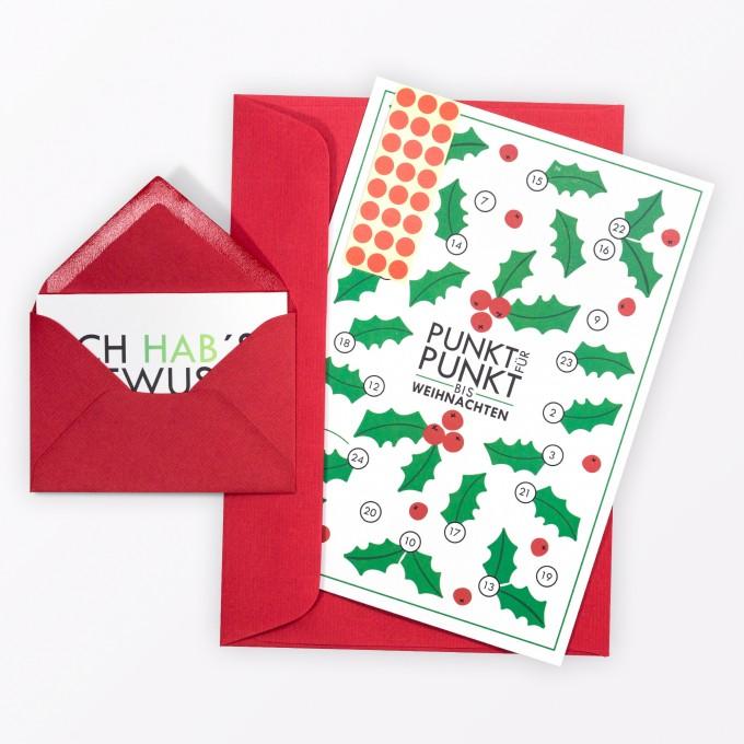 """TYPOP Adventskalenderkarte """"Stechpalme"""" inkl. Umschlag, Minikarte + Umschlag und Klebepunkte"""