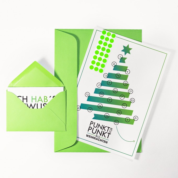 """Adventskalenderkarte """"Tannenbaum"""" inkl. Umschlag, Minikarte + Umschlag und Klebepunkte"""