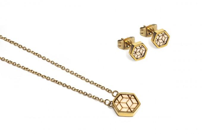 BeWooden Halskette & Ohrringe Set - Virie Hexagon Set