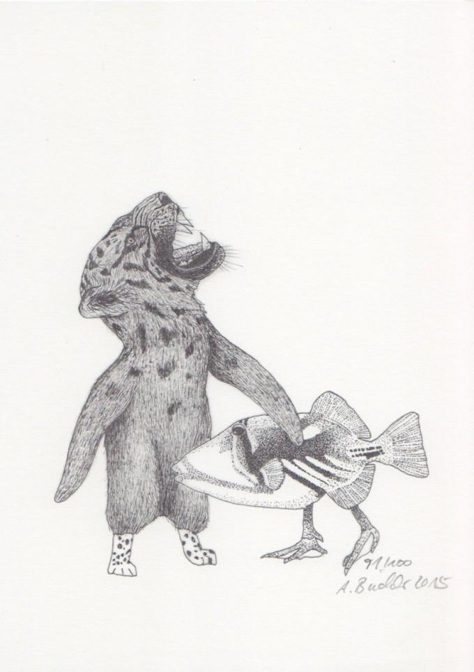Anka Büchler, Das Liebesspiel der Wolpertinger, limitierte Digitaldruckserie, A5, Motiv 12