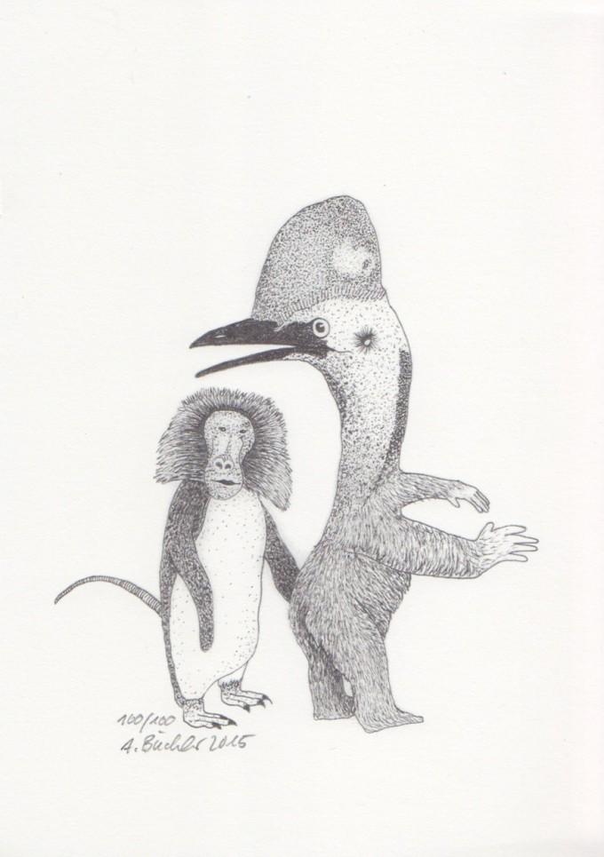Anka Büchler, Das Liebesspiel der Wolpertinger, limitierte Digitaldruckserie, A5, Motiv 14