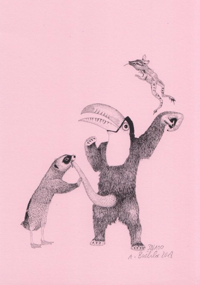 Anka Büchler, Das Liebesspiel der Wolpertinger, limitierte Digitaldruckserie, A5, Motiv 05