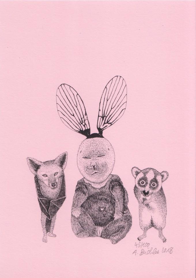 Anka Büchler, Das Liebesspiel der Wolpertinger, limitierte Digitaldruckserie, A5, Motiv 06