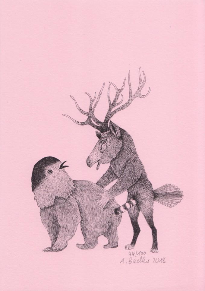 Anka Büchler, Das Liebesspiel der Wolpertinger, limitierte Digitaldruckserie, A5, Motiv 08