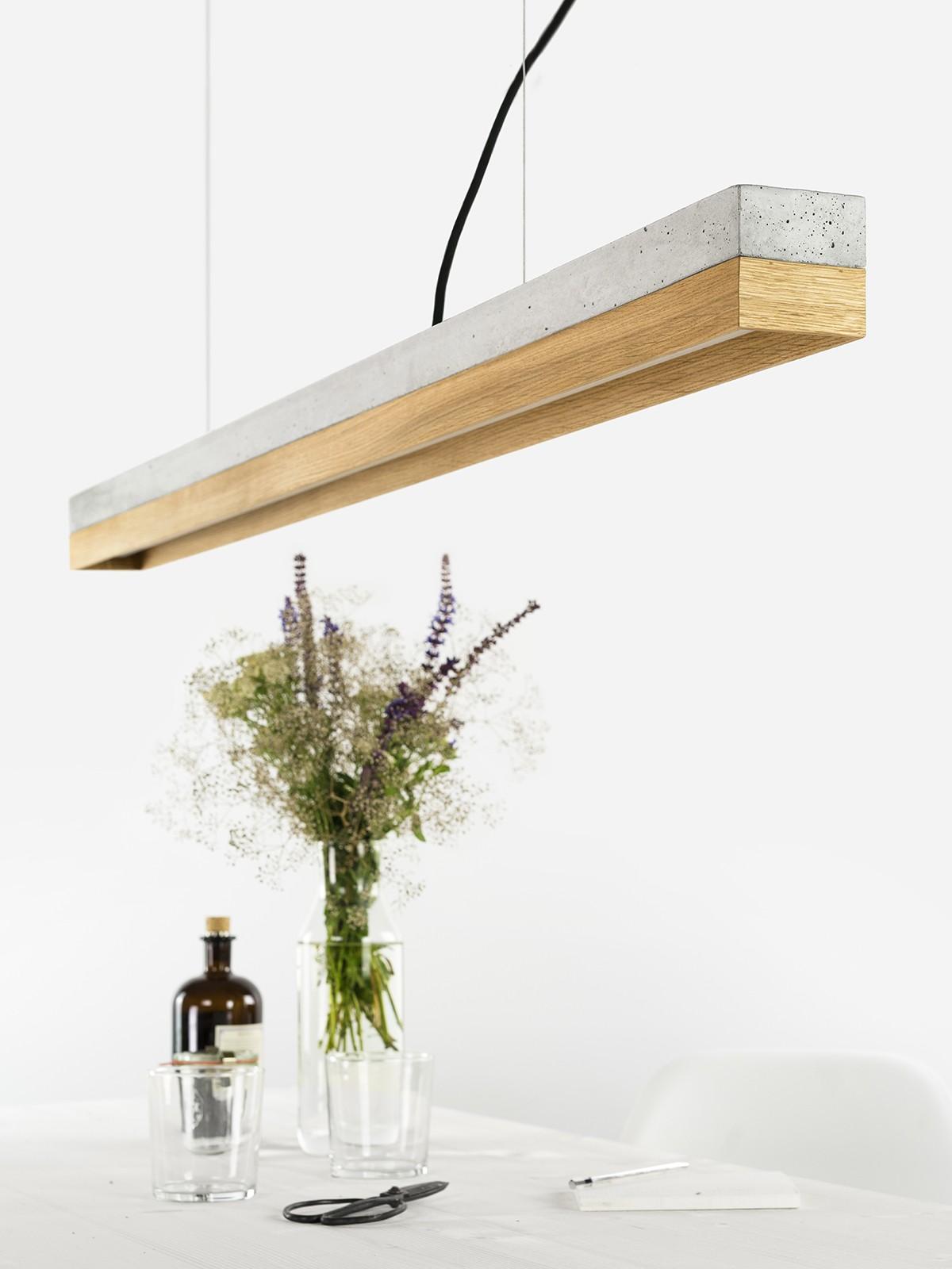 Gantlights c1 oak pendelleuchte beton eiche for Minimalistisch essen