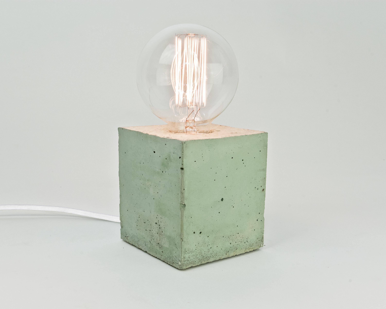 lj lamps alpha coloured gr n tischleuchte aus beton mit. Black Bedroom Furniture Sets. Home Design Ideas