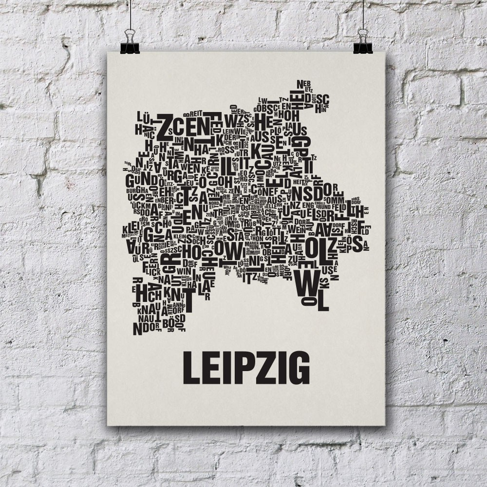 Buchstabenort leipzig stadtteile poster typografie for Wohndesign leipzig