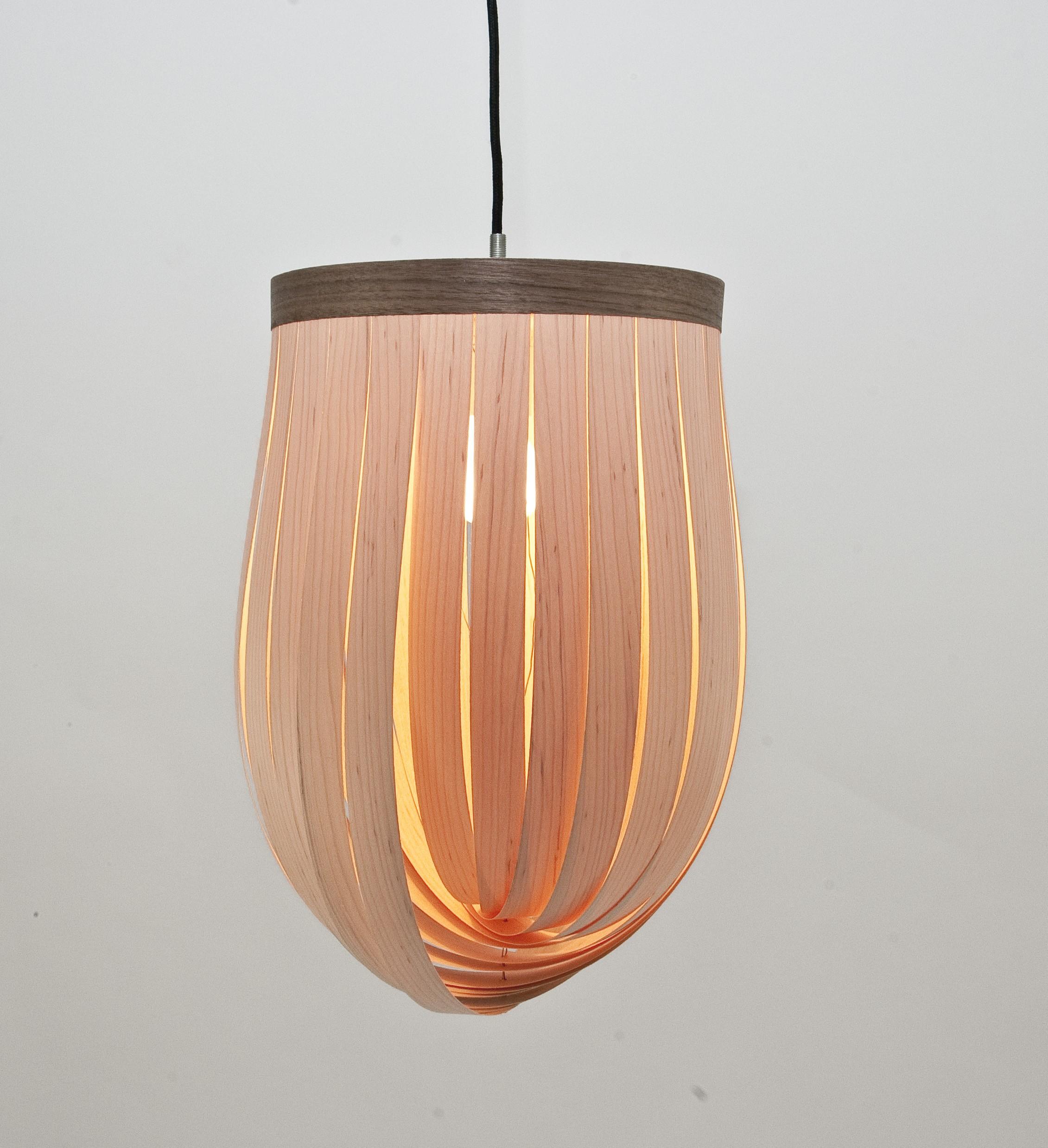 lj lamps epsilon verstellbare pendelleuchte aus holz mit textilkabel. Black Bedroom Furniture Sets. Home Design Ideas