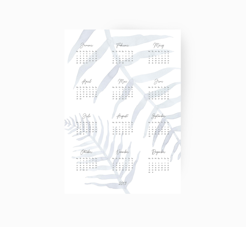 kruth design kalender 2019 leaf. Black Bedroom Furniture Sets. Home Design Ideas