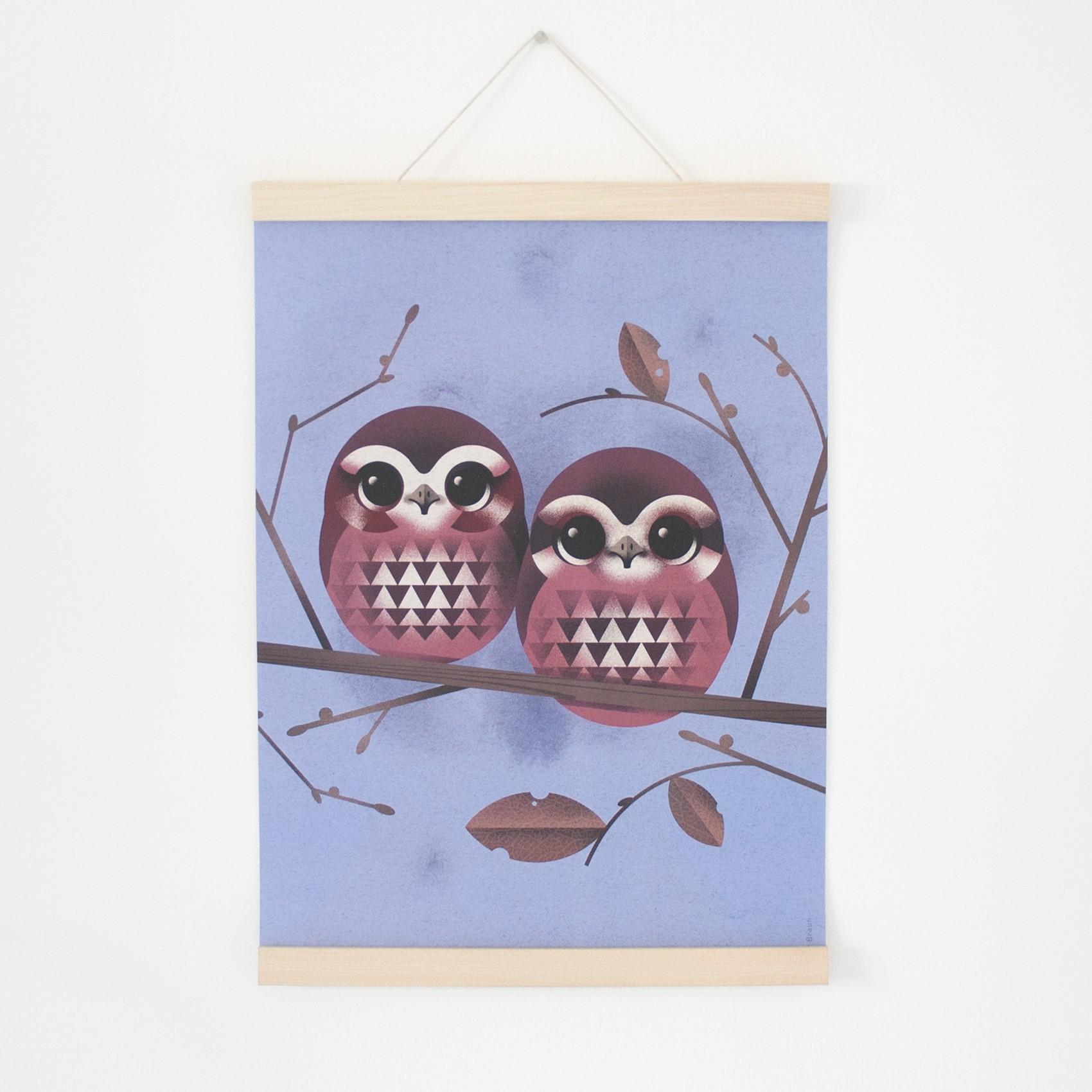 Owl Wohndesign: KLEINWAREN / VON LAUFENBERG Set / Baby Owls + Posterleiste