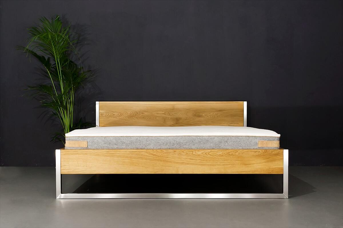 N51e12 Nature Oak Bett Aus Massivholz Eiche Und Edelstahl