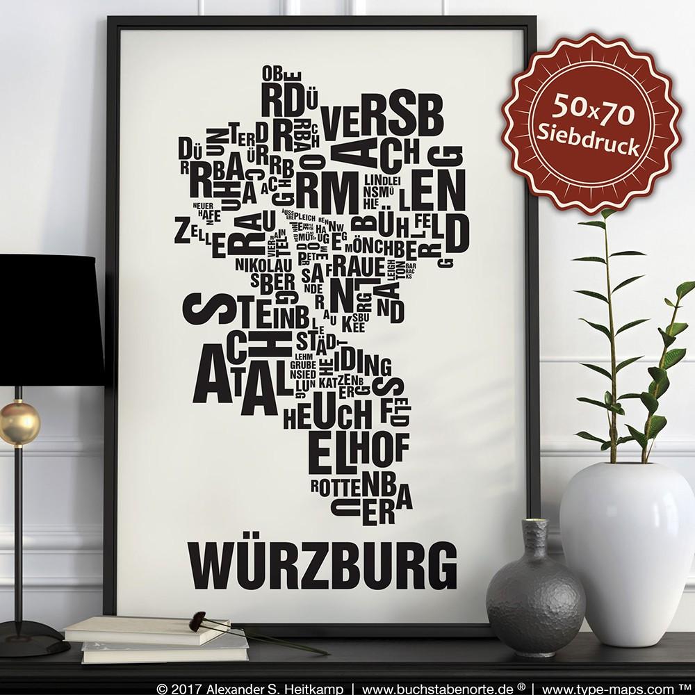 Buchstabenort Würzburg Stadtteile-Poster Typografie