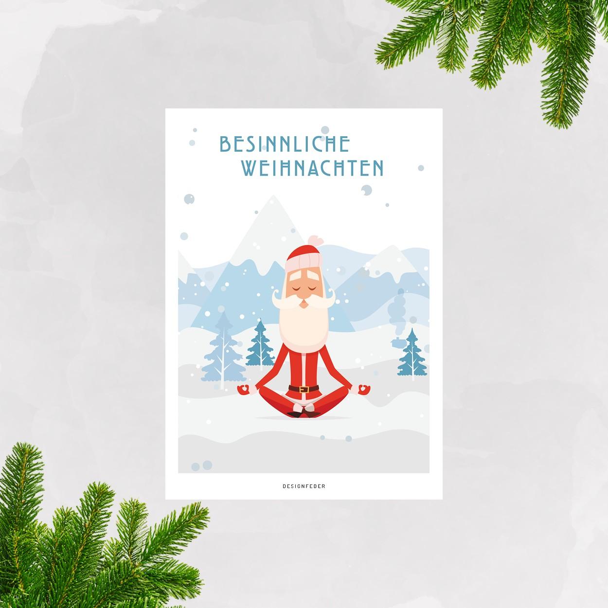 designfeder | Weihnachts-Postkarte Yoga Weihnachtsmann | selekkt.com