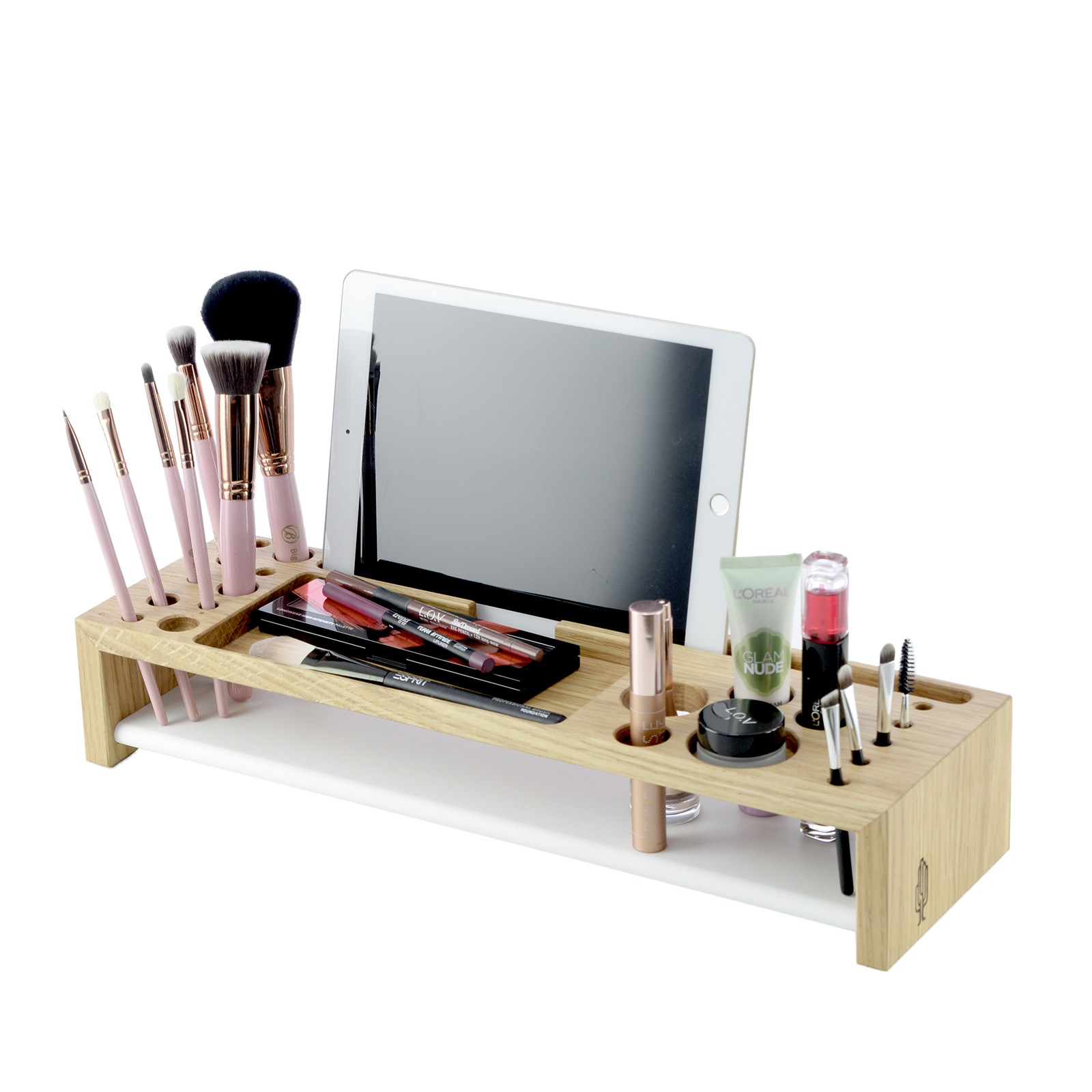 makeup organizer koloro kosmetik organizer aus holz aufbewahrung f r schminke holzbutiq. Black Bedroom Furniture Sets. Home Design Ideas