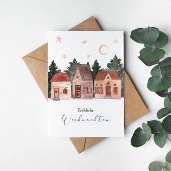 Paperlandscape | Faltkarte | Gemütliche Häuser | Fröhliche Weohnachten