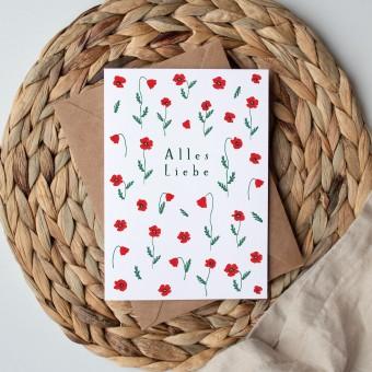 Paperlandscape | Faltkarte | Alles Liebe Mohnblüten