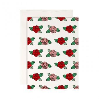 redfries roses – Klappkarte DIN A6 mit Umschlag