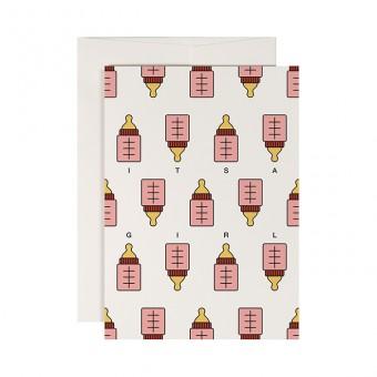 redfries pink bottle –Klappkarte DIN A6 mit Umschlag