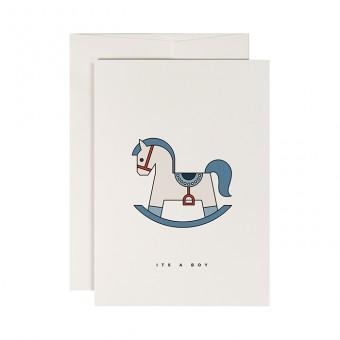 redfries blue rockinghorse –Klappkarte DIN A6 mit Umschlag