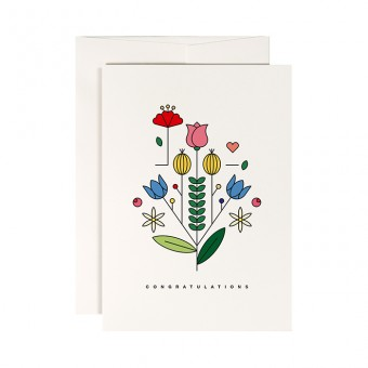 redfries summer blossom – Klappkarte DIN A6 mit Umschlag