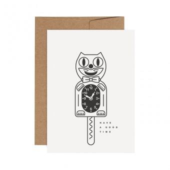 redfries black crazy cat – Letterpress-Klappkarte DIN A6 mit Umschlag