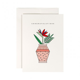 redfries dotted vase – Klappkarte DIN A6 mit Umschlag